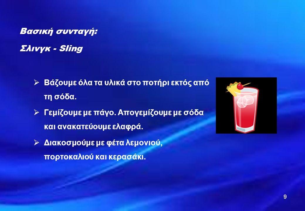 9 Βασική συνταγή: Σλινγκ - Sling  Βάζουμε όλα τα υλικά στο ποτήρι εκτός από τη σόδα.  Γεμίζουμε με πάγο. Απογεμίζουμε με σόδα και ανακατεύουμε ελαφρ
