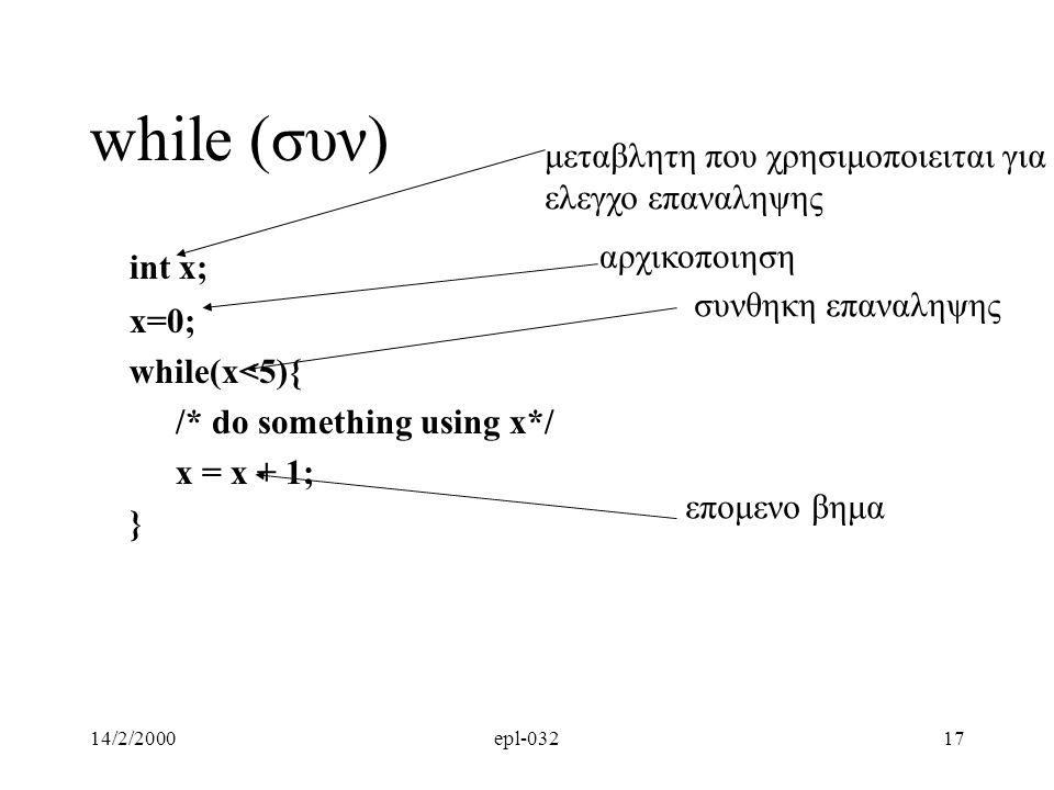 14/2/2000epl-03217 while (συν) int x; x=0; while(x<5){ /* do something using x*/ x = x + 1; } αρχικοποιηση συνθηκη επαναληψης μεταβλητη που χρησιμοπoι
