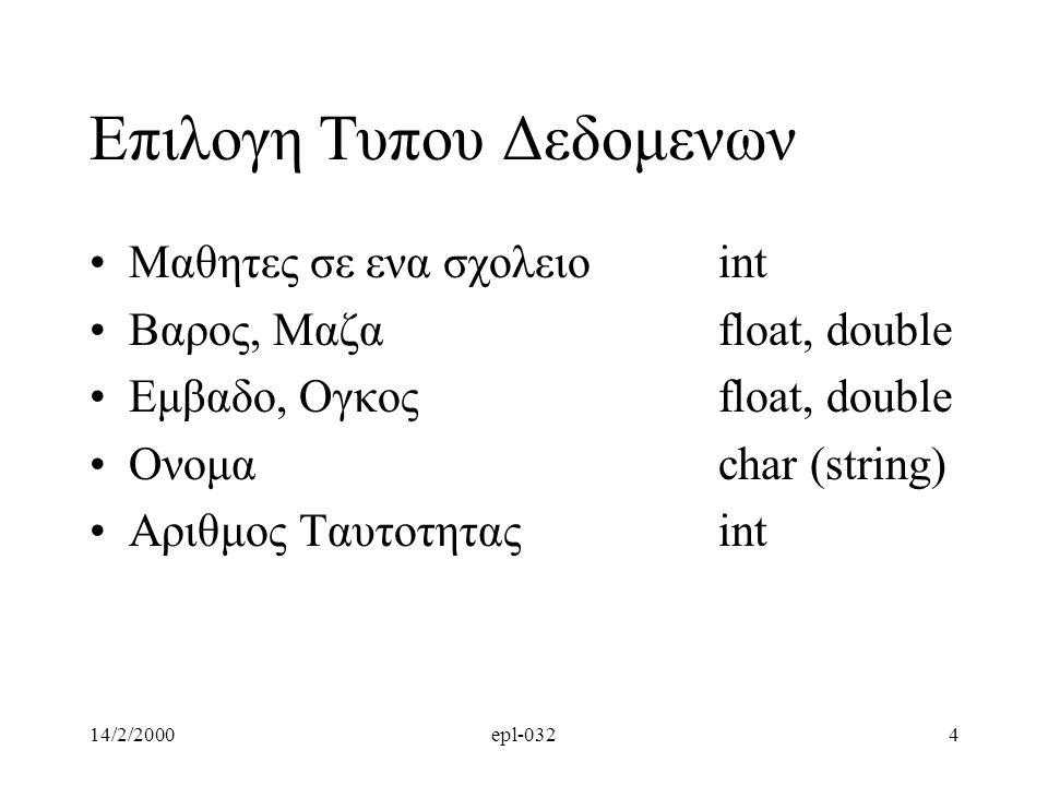 14/2/2000epl-0325 Παράδειγμα Προγραμμα που υπολογιζει το αθροισμα, διαφορα, γινομενο, πηλικο και modulo για δυο ακεραιους αριθμους.