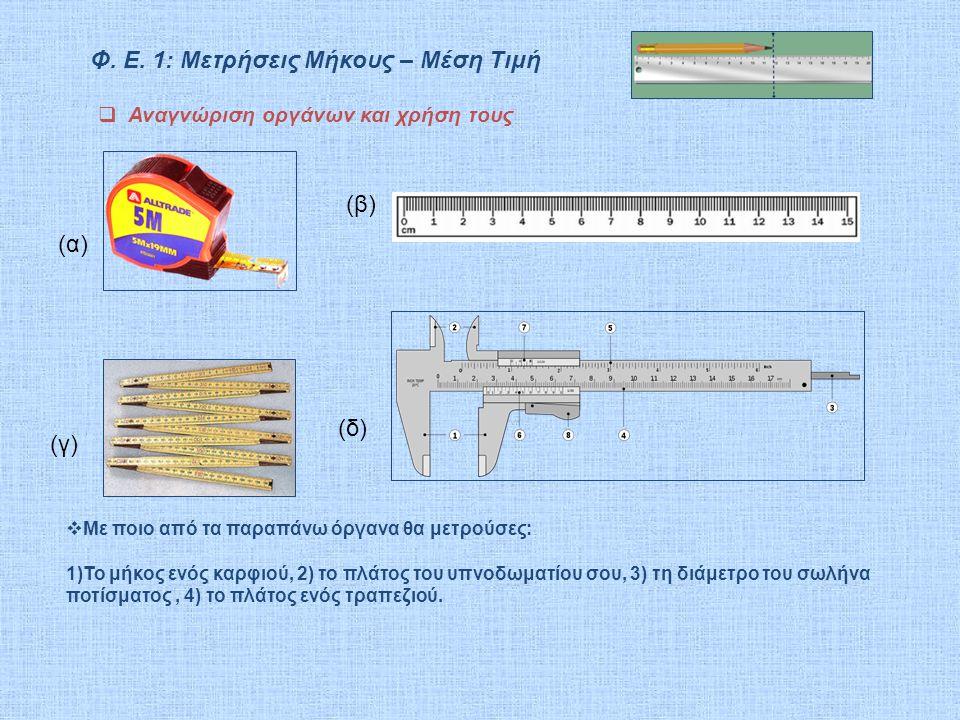  Αναγνώριση οργάνων και χρήση τους (α) (β) (γ) (δ)  Με ποιο από τα παραπάνω όργανα θα μετρούσες: 1)Το μήκος ενός καρφιού, 2) το πλάτος του υπνοδωματ