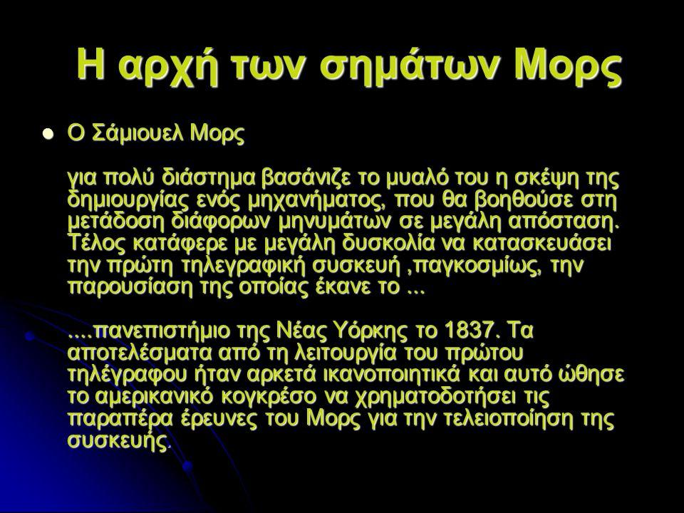Το αλφάβητο του Μορς Για την ευκολότερη χρήση του τηλέγραφου σε διεθνή κλίμακα, ο Μορς εφεύρε και ειδικό αλφάβητο, το γνωστό αλφάβητο Μορς (Κώδικας Μορς).