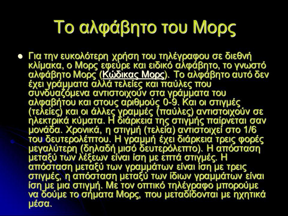 Το αλφάβητο του Μορς Για την ευκολότερη χρήση του τηλέγραφου σε διεθνή κλίμακα, ο Μορς εφεύρε και ειδικό αλφάβητο, το γνωστό αλφάβητο Μορς (Κώδικας Μο