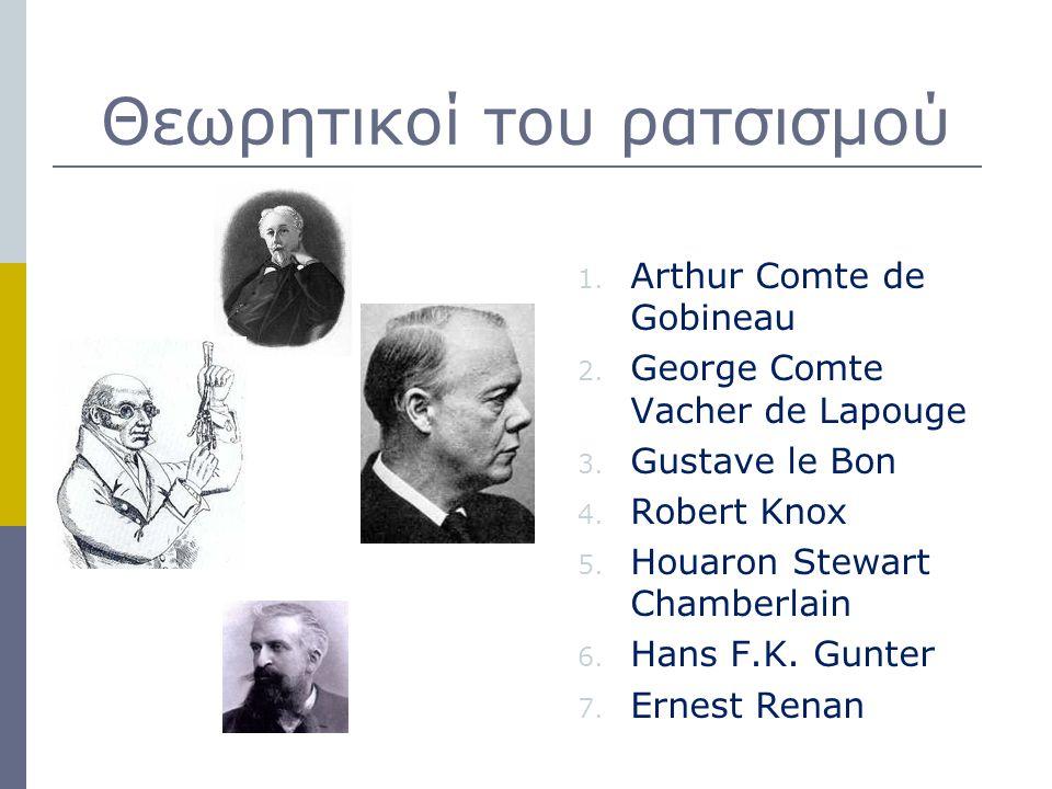 Θεωρητικοί του ρατσισμού 1. Arthur Comte de Gobineau 2. George Comte Vacher de Lapouge 3. Gustave le Bon 4. Robert Knox 5. Houaron Stewart Chamberlain