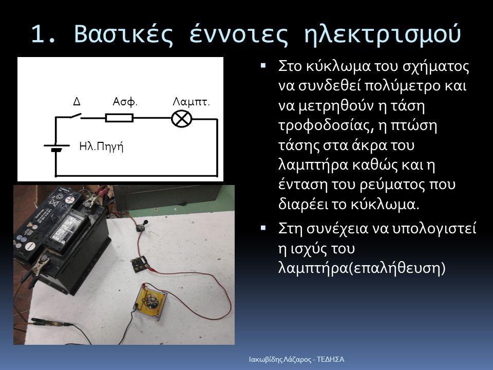 1. Βασικές έννοιες ηλεκτρισμού  Στο κύκλωμα του σχήματος να συνδεθεί πολύμετρο και να μετρηθούν η τάση τροφοδοσίας, η πτώση τάσης στα άκρα του λαμπτή