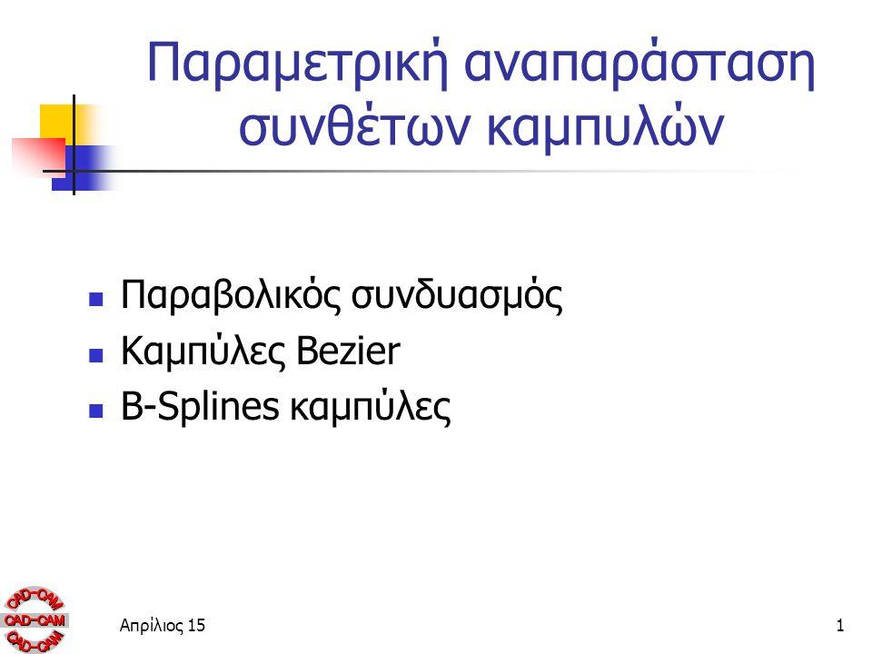 Παραμετρική αναπαράσταση συνθέτων καμπυλών Παραβολικός συνδυασμός Καμπύλες Bezier B-Splines καμπύλες Απρίλιος 151