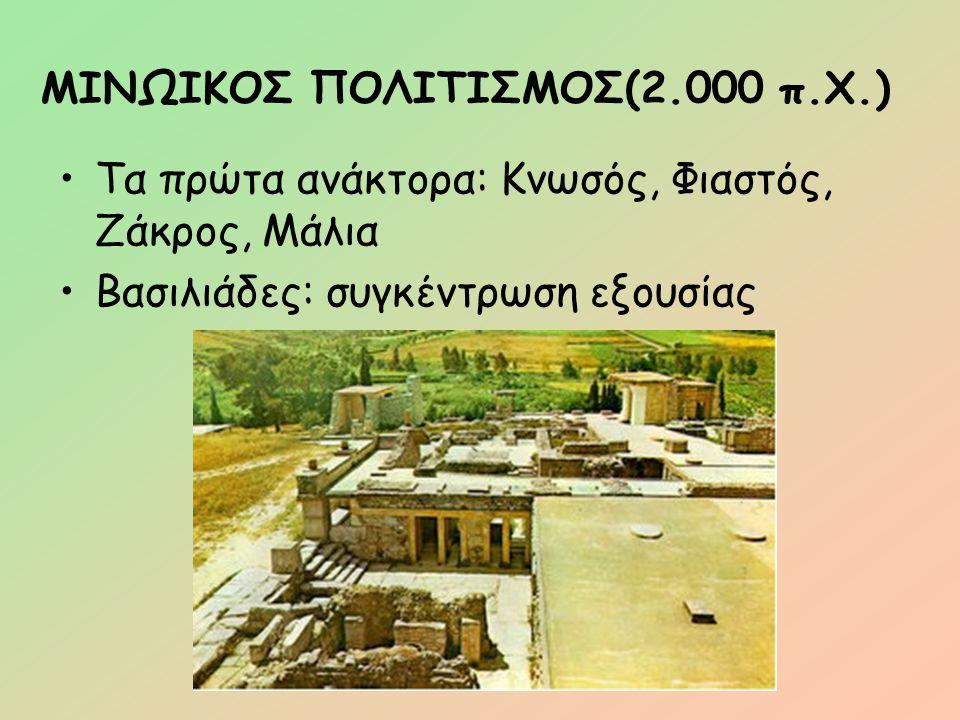 ΜΙΝΩΙΚΟΣ ΠΟΛΙΤΙΣΜΟΣ (1700π.Χ.) Καταστρέφονται από σεισμό Χτίζονται πιο επιβλητικά Έντονη η μινωική θαλασσοκρατία Δημιουργούν αποικίες Σχέσεις με νησιωτική και ηπειρωτική Ελλάδα