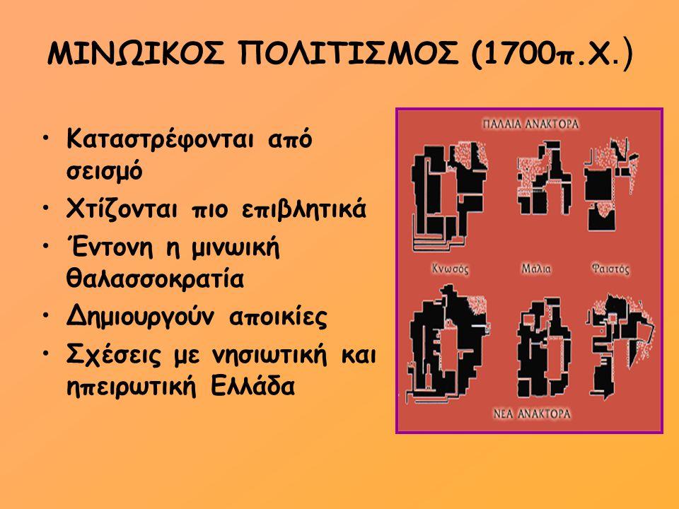 ΜΙΝΩΙΚΟΣ ΠΟΛΙΤΙΣΜΟΣ(1450π.Χ.)  Καταστρέφονται από σεισμό (εκτός Κνωσού)  Μυκηναίοι →καταλαμβάνουν Κνωσό →επιβάλλουν την κυριαρχία τους  1370 π.Χ.→καταστροφή ανακτόρου Κνωσού  Κρήτη→επαρχία μυκηναϊκού κόσμου Έκρηξη ηφαιστείου Θήρας
