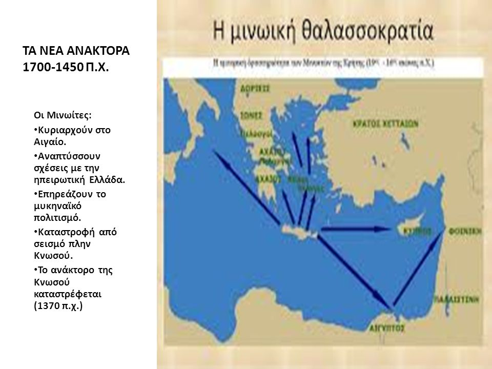 ΤΑ ΝΕΑ ΑΝΑΚΤΟΡΑ 1700-1450 Π.Χ. Οι Μινωίτες: Κυριαρχούν στο Αιγαίο. Αναπτύσσουν σχέσεις με την ηπειρωτική Ελλάδα. Επηρεάζουν το μυκηναϊκό πολιτισμό. Κα