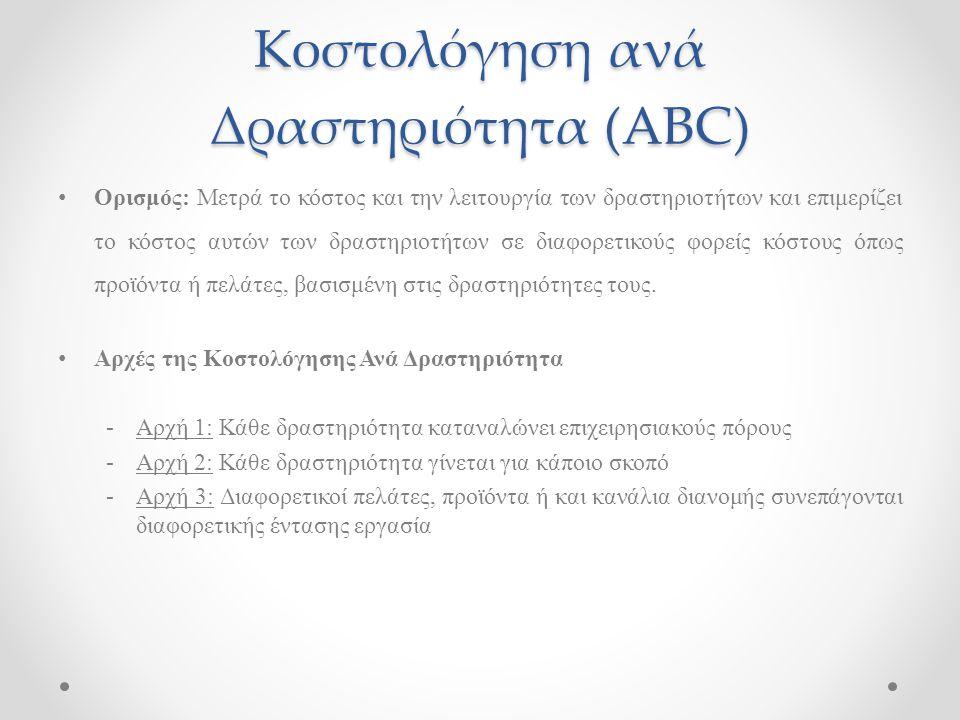Κοστολόγηση ανά Δραστηριότητα (ABC) Ορισμός: Μετρά το κόστος και την λειτουργία των δραστηριοτήτων και επιμερίζει το κόστος αυτών των δραστηριοτήτων σ