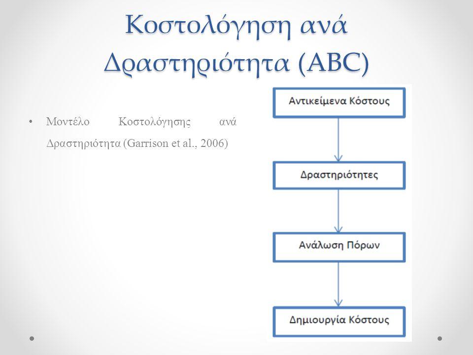 Μοντέλο Κοστολόγησης ανά Δραστηριότητα (Garrison et al., 2006)