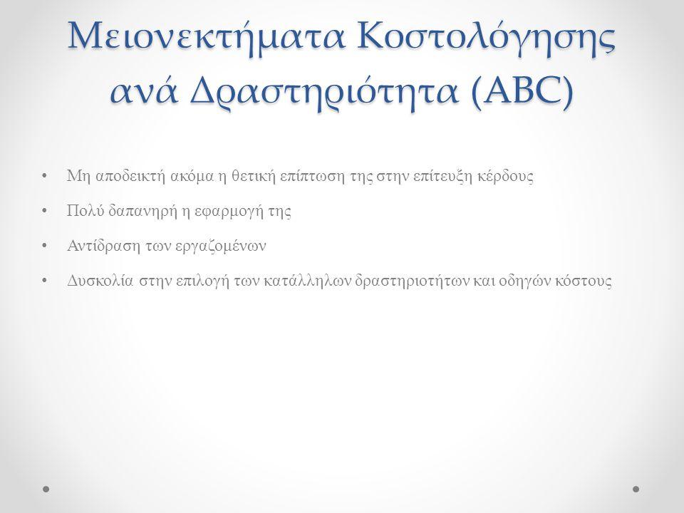Μειονεκτήματα Κοστολόγησης ανά Δραστηριότητα (ABC) Μη αποδεικτή ακόμα η θετική επίπτωση της στην επίτευξη κέρδους Πολύ δαπανηρή η εφαρμογή της Αντίδρα