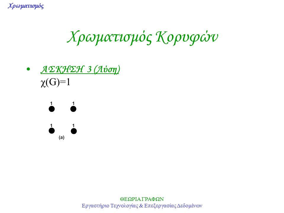 Χρωματισμός ΘΕΩΡΙΑ ΓΡΑΦΩΝ Εργαστήριο Τεχνολογίας & Επεξεργασίας Δεδομένων Χρωματισμός Κορυφών ΑΣΚΗΣΗ 3 (Λύση) χ(G)=1