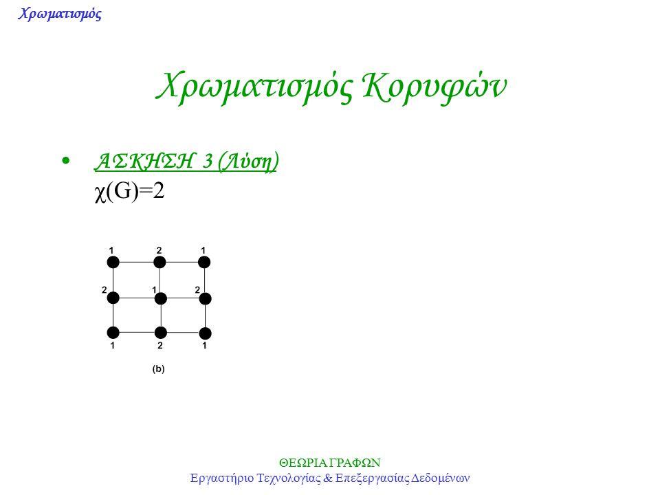 Χρωματισμός ΘΕΩΡΙΑ ΓΡΑΦΩΝ Εργαστήριο Τεχνολογίας & Επεξεργασίας Δεδομένων Χρωματισμός Κορυφών ΑΣΚΗΣΗ 3 (Λύση) χ(G)=2