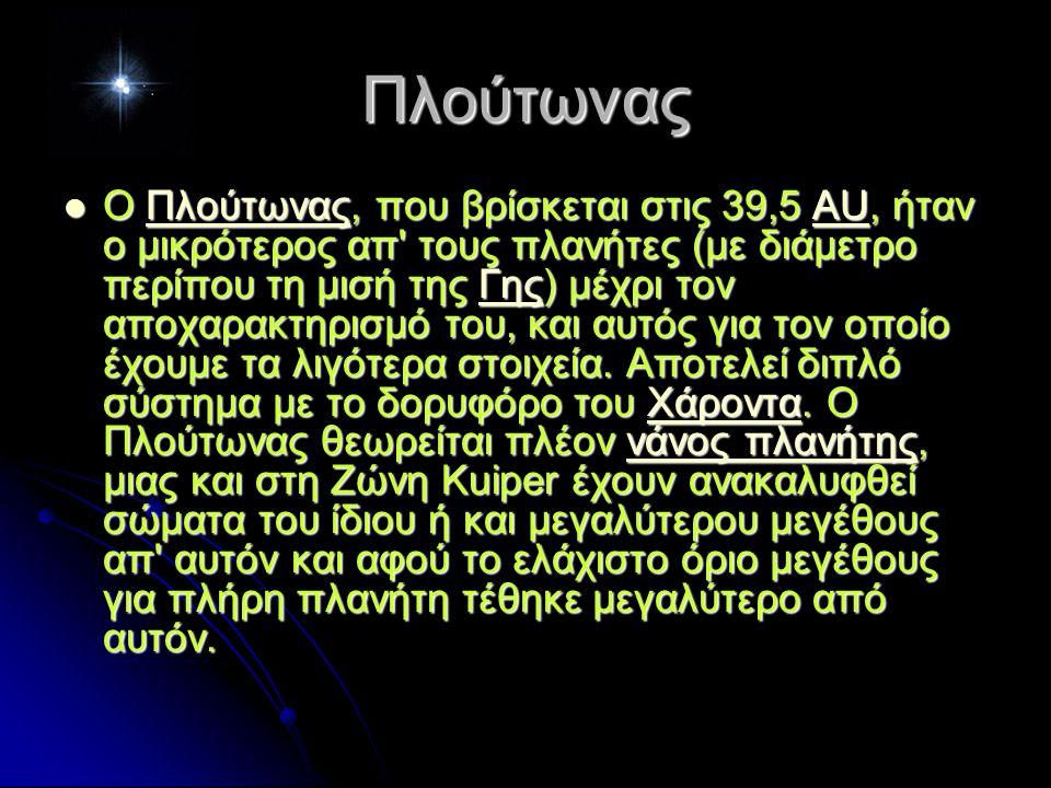 Πλούτωνας Ο Πλούτωνας, που βρίσκεται στις 39,5 AU, ήταν ο μικρότερος απ τους πλανήτες (με διάμετρο περίπου τη μισή της Γης) μέχρι τον αποχαρακτηρισμό του, και αυτός για τον οποίο έχουμε τα λιγότερα στοιχεία.