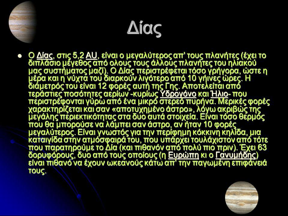 Κρόνος Ο Κρόνος (9,5 AU) είναι λίγο πιο μικρός (και πολύ πιο ελαφρύς) απ το Δία και του μοιάζει σε αρκετά χαρακτηριστικά.