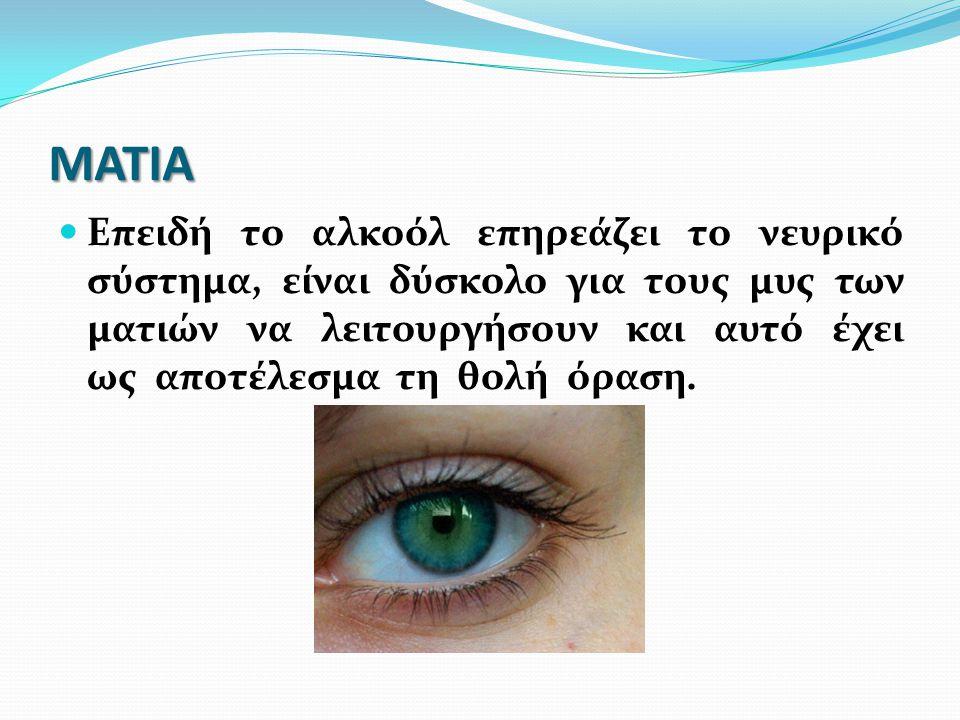ΜΑΤΙΑ Επειδή το αλκοόλ επηρεάζει το νευρικό σύστημα, είναι δύσκολο για τους μυς των ματιών να λειτουργήσουν και αυτό έχει ως αποτέλεσμα τη θολή όραση.