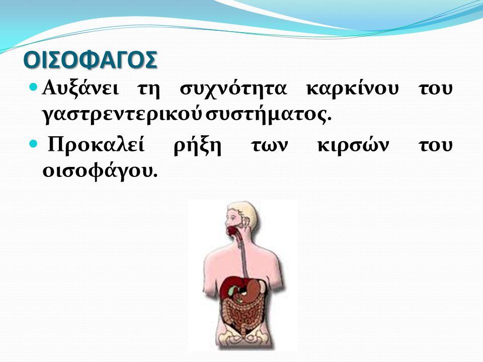 ΟΙΣΟΦΑΓΟΣ Αυξάνει τη συχνότητα καρκίνου του γαστρεντερικού συστήματος. Προκαλεί ρήξη των κιρσών του οισοφάγου.