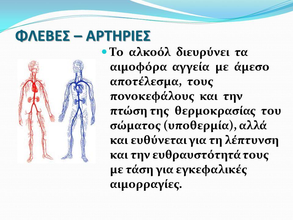 ΦΛΕΒΕΣ – ΑΡΤΗΡΙΕΣ Το αλκοόλ διευρύνει τα αιμοφόρα αγγεία με άμεσο αποτέλεσμα, τους πονοκεφάλους και την πτώση της θερμοκρασίας του σώματος (υποθερμία)