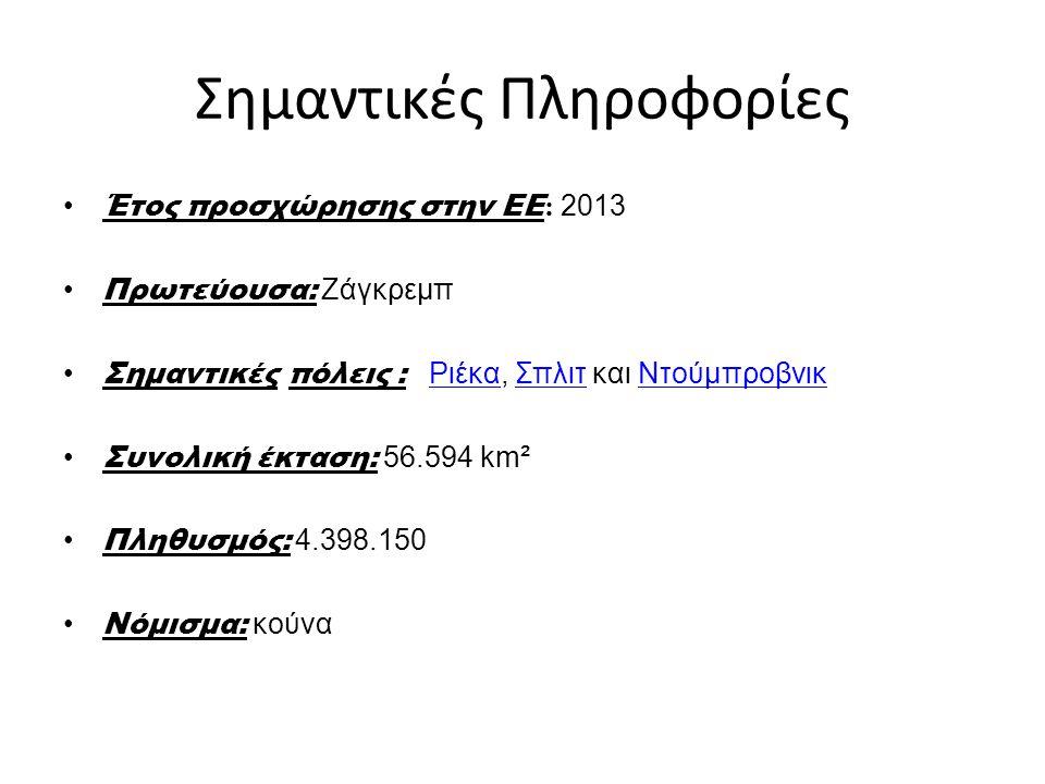 Σημαντικές Πληροφορίες Έτος προσχώρησης στην ΕΕ : 2013 Πρωτεύουσα: Ζάγκρεμπ Σημαντικές πόλεις : Ριέκα, Σπλιτ και ΝτούμπροβνικΡιέκαΣπλιτΝτούμπροβνικ Συ