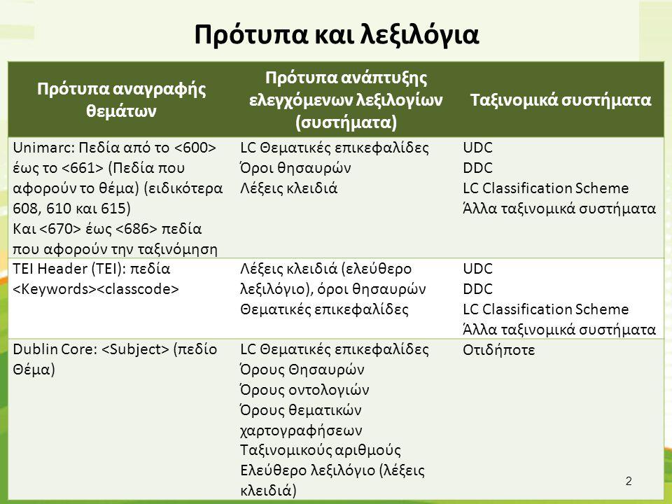 Πρότυπα και λεξιλόγια Πρότυπα αναγραφής θεμάτων Πρότυπα ανάπτυξης ελεγχόμενων λεξιλογίων (συστήματα) Ταξινομικά συστήματα Unimarc: Πεδία από το έως το