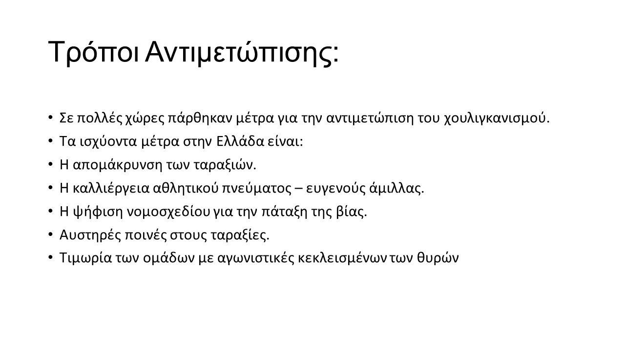 Αιτίες που δημιουργούν τη βία στα Γήπεδα Καθημερινά βλέπουμε διάφορα κρούσματα βίας σε όλα τα γήπεδα της Ελλάδας.
