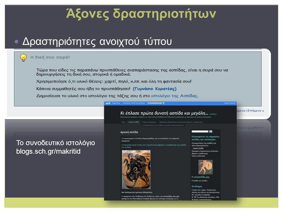 Δραστηριότητες ανοιχτού τύπου Το συνοδευτικό ιστολόγιο blogs.sch.gr/makritid Άξονες δραστηριοτήτων