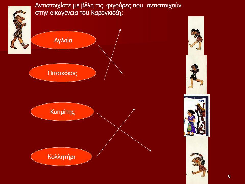 9 Αντιστοιχίστε με βέλη τις φιγούρες που αντιστοιχούν στην οικογένεια του Καραγκιόζη; Αγλαϊα Πιτσικόκος Κοπρίτης Κολλητήρι