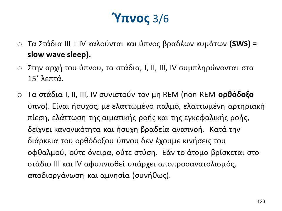 o Τα Στάδια ΙΙΙ + IV καλούνται και ύπνος βραδέων κυμάτων (SWS) = slow wave sleep).