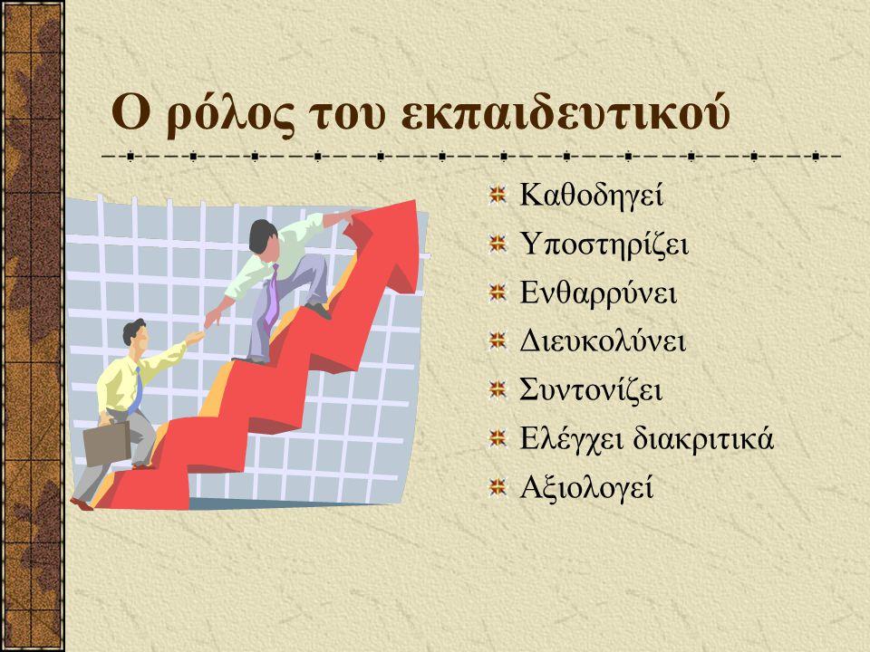 Νέοι ρόλοι Ο ρόλος του εκπαιδευτικού Ο ρόλος του μαθητή