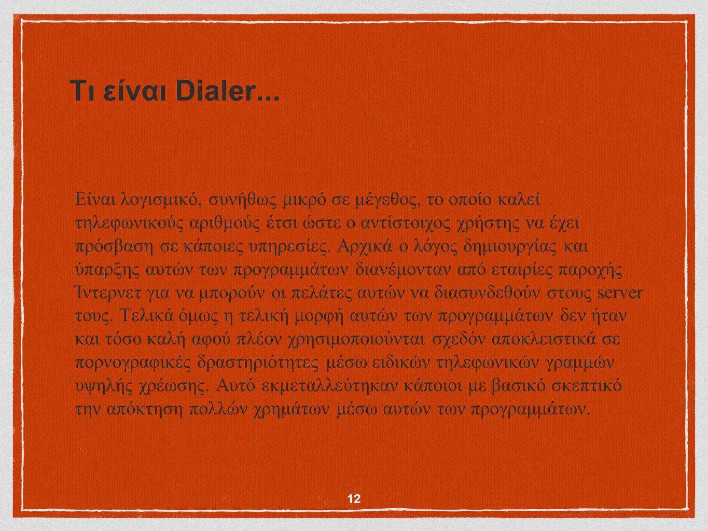 Τι είναι Dialer... Είναι λογισμικό, συνήθως μικρό σε μέγεθος, το οποίο καλεί τηλεφωνικούς αριθμούς έτσι ώστε ο αντίστοιχος χρήστης να έχει πρόσβαση σε