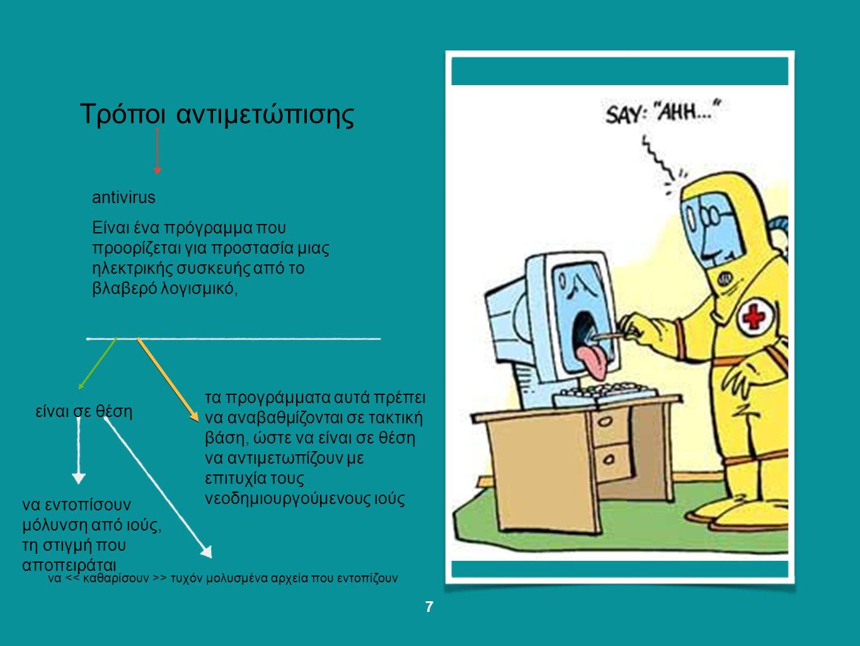 Τρόποι αντιμετώπισης να εντοπισουν μολυνση απο ιους, τη στιγμη που αποπειραται να > τυχόν μολυσμένα αρχεία που εντοπίζουν τα προγράμματα αυτά
