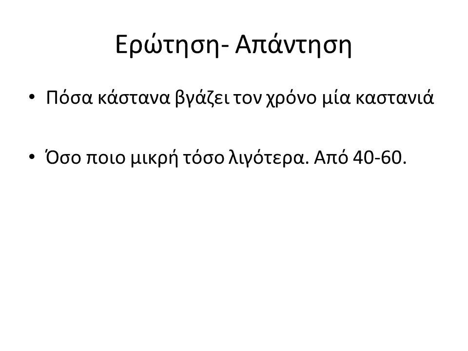 Ερώτηση- Απάντηση Πόσα κάστανα βγάζει τον χρόνο μία καστανιά Όσο ποιο μικρή τόσο λιγότερα.