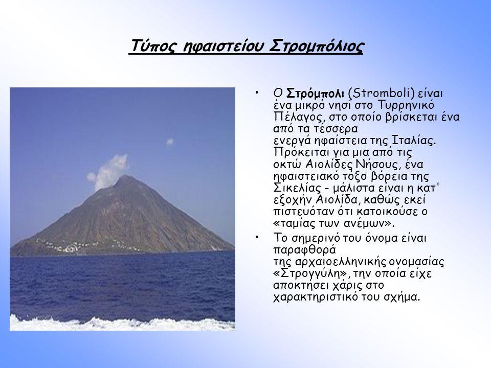 Τύπος ηφαιστείου Στρομπόλιος O Στρόμπολι (Stromboli) είναι ένα μικρό νησί στο Τυρρηνικό Πέλαγος, στο οποίο βρίσκεται ένα από τα τέσσερα ενεργά ηφαίστε