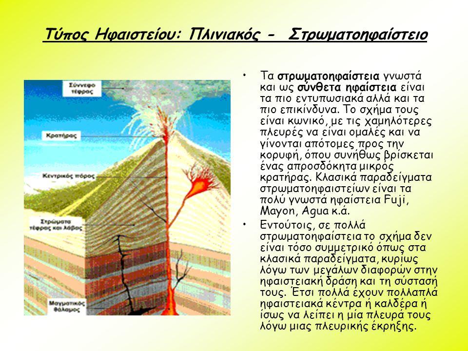 Τύπος Ηφαιστείου: Πλινιακός - Στρωματοηφαίστειο Τα στρωματοηφαίστεια γνωστά και ως σύνθετα ηφαίστεια είναι τα πιο εντυπωσιακά αλλά και τα πιο επικίνδυ