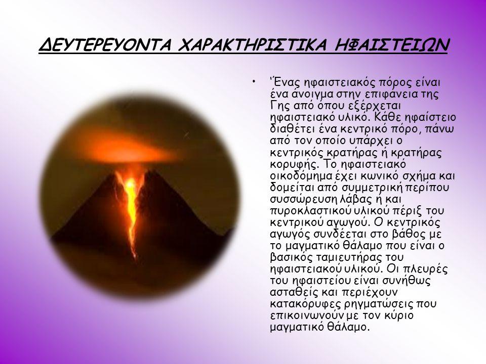 ΔΕΥΤΕΡΕΥΟΝΤΑ ΧΑΡΑΚΤΗΡΙΣΤΙΚΑ ΗΦΑΙΣΤΕΙΩΝ 'Ένας ηφαιστειακός πόρος είναι ένα άνοιγμα στην επιφάνεια της Γης από όπου εξέρχεται ηφαιστειακό υλικό. Κάθε ηφ