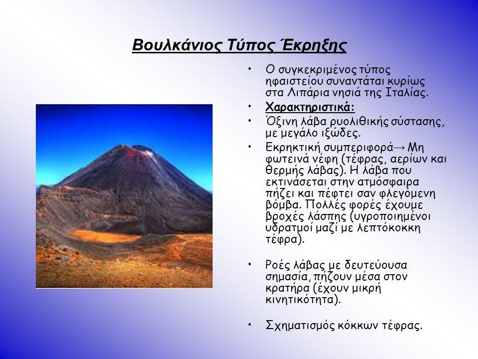 Βουλκάνιος Τύπος Έκρηξης Ο συγκεκριμένος τύπος ηφαιστείου συναντάται κυρίως στα Λιπάρια νησιά της Ιταλίας. Χαρακτηριστικά: Όξινη λάβα ρυολιθικής σύστα