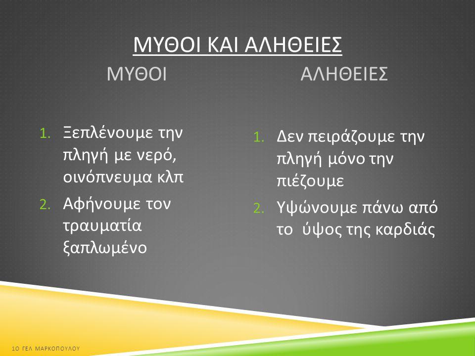 ΛΙΠΟΘΥΜΙΑ Λιποθυμία : η παροδική απώλεια συνείδησης  Βήμα 1 ο : αποφράζουμε την αεροφόρο οδό ( ανύψωση κεφαλής )  Βήμα 2 ο : ελέγχουμε αν το θύμα αναπνέει ( ακούμε, βλέπουμε, αισθανόμαστε ) 1 Ο ΓΕΛ ΜΑΡΚΟΠΟΥΛΟΥ