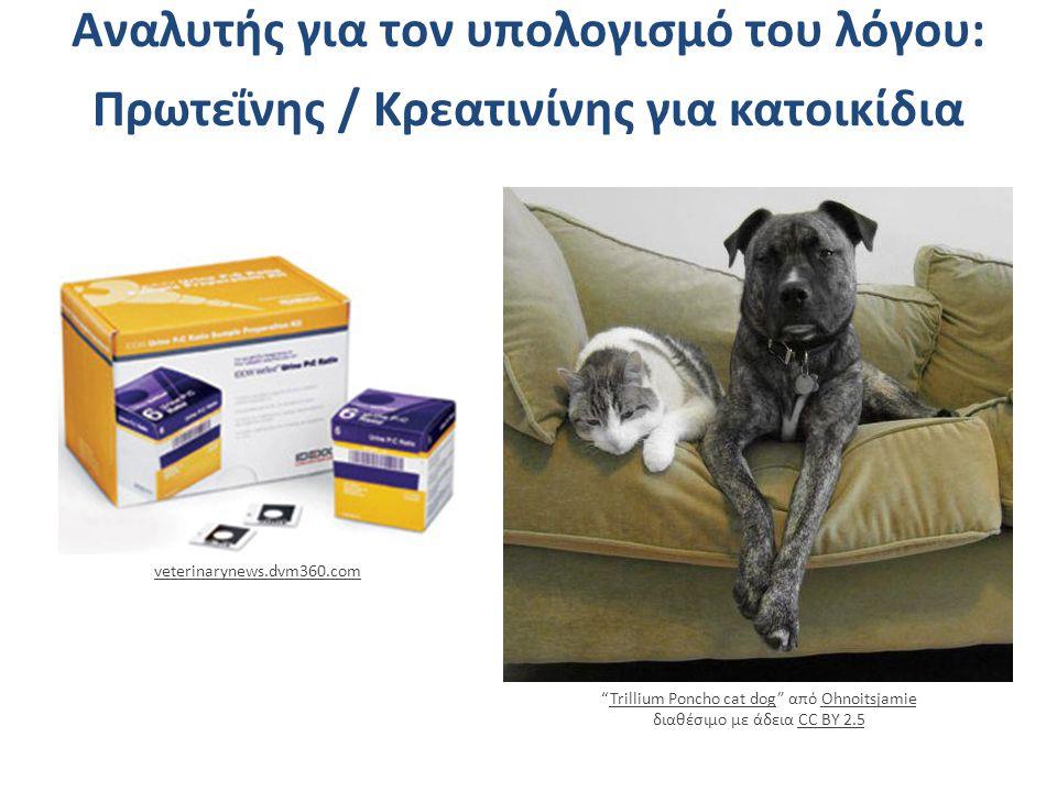Aναλυτής για τον υπολογισμό του λόγου: Πρωτεΐνης / Κρεατινίνης για κατοικίδια Trillium Poncho cat dog από Ohnoitsjamie διαθέσιμο με άδεια CC BY 2.5Trillium Poncho cat dogOhnoitsjamieCC BY 2.5 veterinarynews.dvm360.com