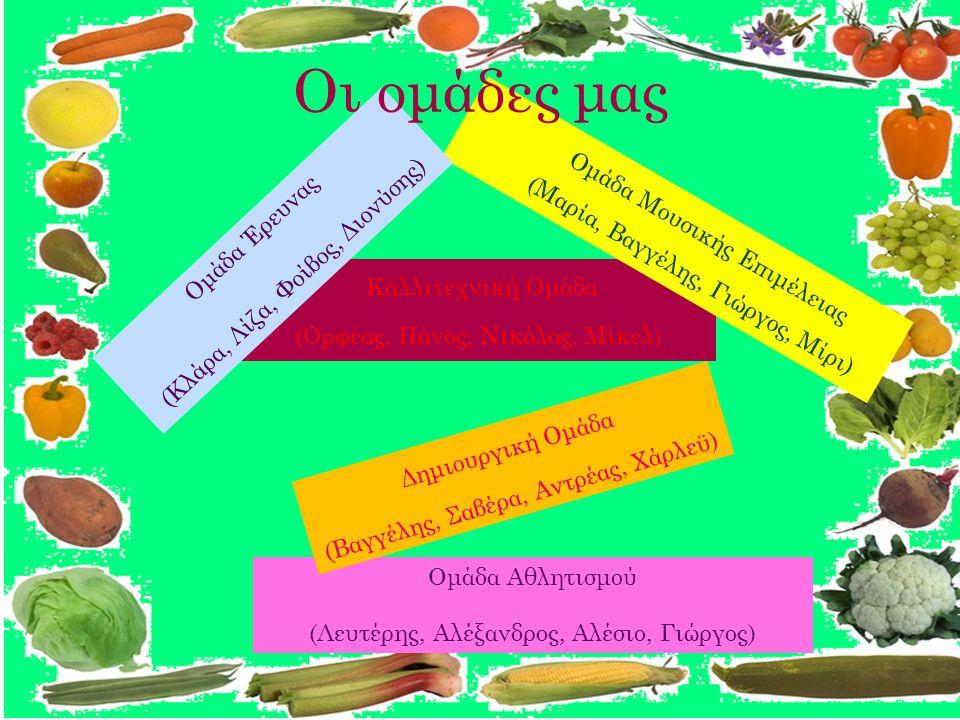 Καλλιτεχνική Ομάδα (Ορφέας, Πάνος, Νικόλας, Μίκελ) Ομάδα Μουσικής Επιμέλειας (Μαρία, Βαγγέλης, Γιώργος, Μίρι) Ομάδα Αθλητισμού (Λευτέρης, Αλέξανδρος, Αλέσιο, Γιώργος) Ομάδα Έρευνας (Κλάρα, Λίζα, Φοίβος, Διονύσης) Δημιουργική Ομάδα (Βαγγέλης, Σαβέρα, Αντρέας, Χάρλεϋ) Οι ομάδες μας