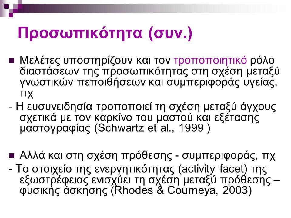 Προσωπικότητα (συν.) Μελέτες υποστηρίζουν και τον τροποποιητικό ρόλο διαστάσεων της προσωπικότητας στη σχέση μεταξύ γνωστικών πεποιθήσεων και συμπεριφοράς υγείας, πχ - Η ευσυνειδησία τροποποιεί τη σχέση μεταξύ άγχους σχετικά με τον καρκίνο του μαστού και εξέτασης μαστογραφίας (Schwartz et al., 1999 ) Αλλά και στη σχέση πρόθεσης - συμπεριφοράς, πχ - Το στοιχείο της ενεργητικότητας (activity facet) της εξωστρέφειας ενισχύει τη σχέση μεταξύ πρόθεσης – φυσικής άσκησης (Rhodes & Courneya, 2003)