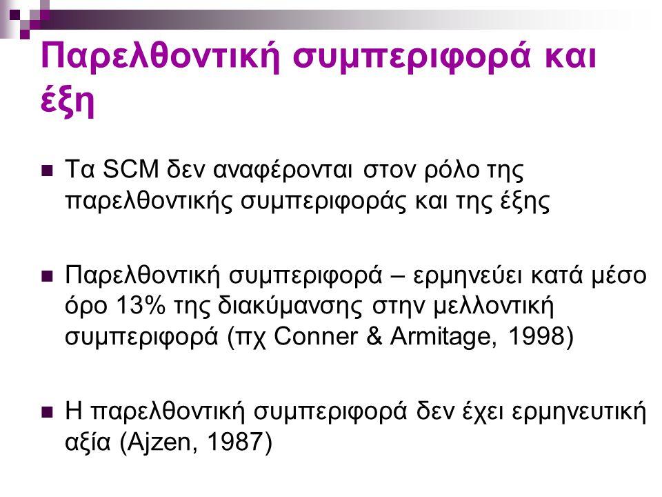 Παρελθοντική συμπεριφορά και έξη Τα SCM δεν αναφέρονται στον ρόλο της παρελθοντικής συμπεριφοράς και της έξης Παρελθοντική συμπεριφορά – ερμηνεύει κατά μέσο όρο 13% της διακύμανσης στην μελλοντική συμπεριφορά (πχ Conner & Armitage, 1998) Η παρελθοντική συμπεριφορά δεν έχει ερμηνευτική αξία (Ajzen, 1987)