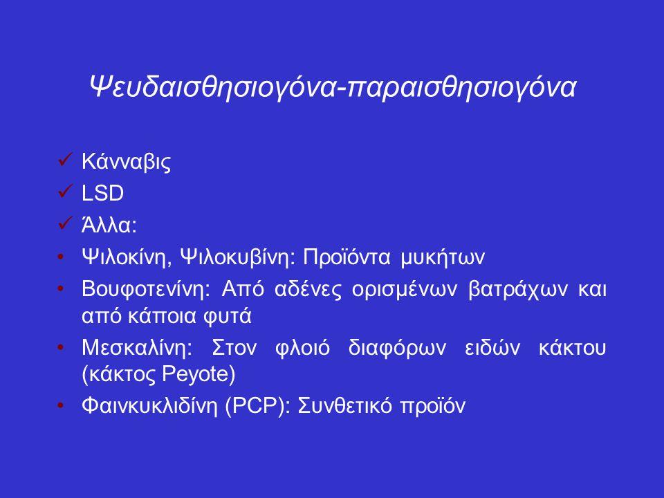 Ψευδαισθησιογόνα-παραισθησιογόνα Κάνναβις LSD Άλλα: Ψιλοκίνη, Ψιλοκυβίνη: Προϊόντα μυκήτων Βουφοτενίνη: Από αδένες ορισμένων βατράχων και από κάποια φυτά Μεσκαλίνη: Στον φλοιό διαφόρων ειδών κάκτου (κάκτος Peyote) Φαινκυκλιδίνη (PCP): Συνθετικό προϊόν