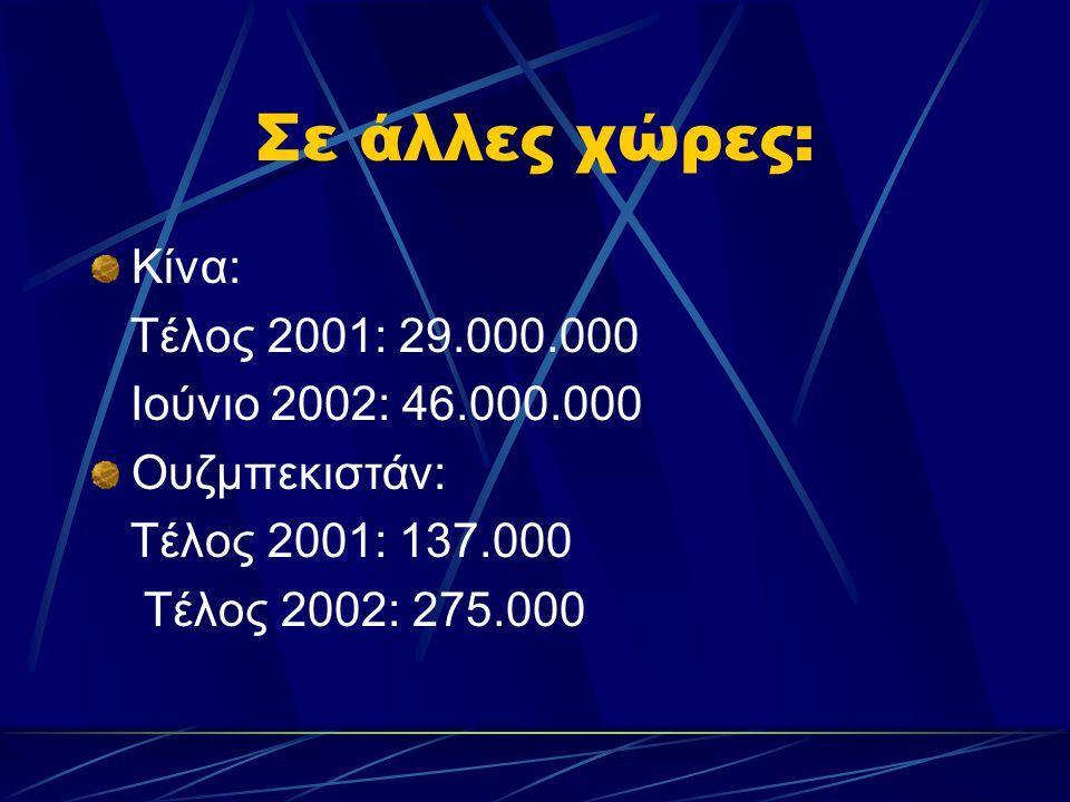 Σε άλλες χώρες: Κίνα: Τέλος 2001: 29.000.000 Ιούνιο 2002: 46.000.000 Ουζμπεκιστάν: Τέλος 2001: 137.000 Τέλος 2002: 275.000