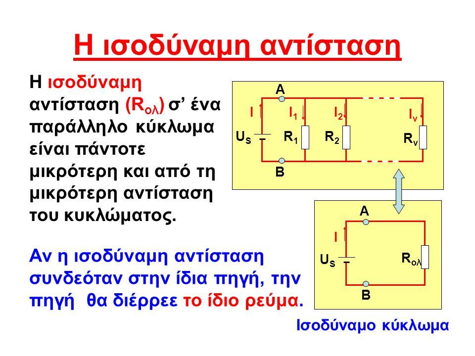 H ισοδύναμη αντίσταση Η ισοδύναμη αντίσταση (R ολ ) σ' ένα παράλληλο κύκλωμα είναι πάντοτε μικρότερη και από τη μικρότερη αντίσταση του κυκλώματος.