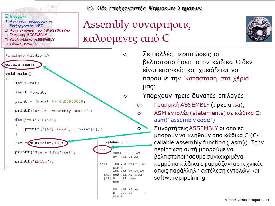 ΕΣ 08: Επεξεργαστές Ψηφιακών Σημάτων © 2006 Nicolas Tsapatsoulis ◊Τα ορίσματα των συναρτήσεων μεταφέρονται μέσω των καταχωρητών A4, B4, A6, B6,...