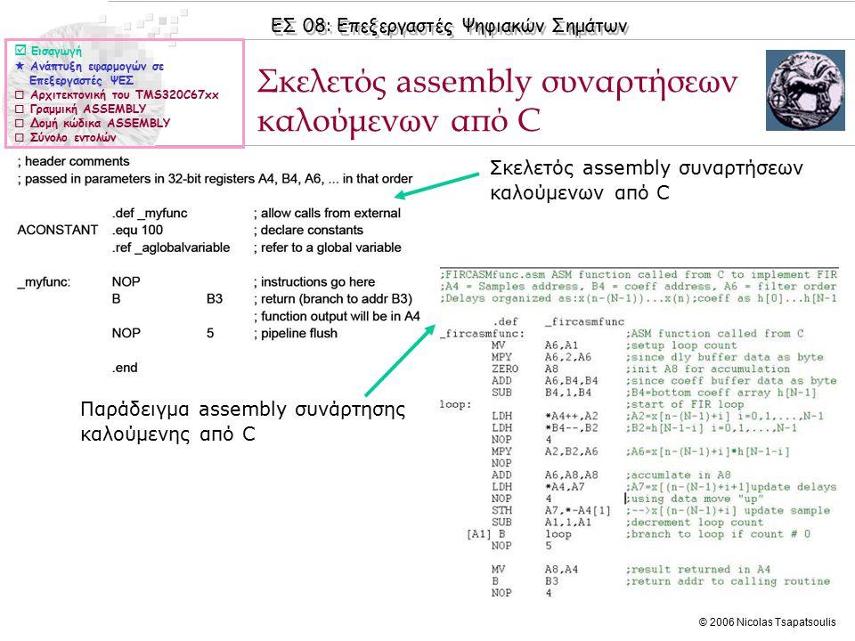 ΕΣ 08: Επεξεργαστές Ψηφιακών Σημάτων © 2006 Nicolas Tsapatsoulis ◊Η τεχνική software pipelining εφαρμόζεται σε συναρτήσεις ASSEMBLY και προσπαθεί να αναδιατάξει τη σειρά εκτέλεσης των εντολών ώστε να ελαχιστοποιούνται οι εντολές NOP.