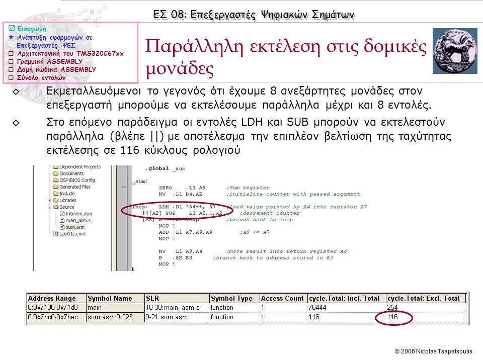 ΕΣ 08: Επεξεργαστές Ψηφιακών Σημάτων © 2006 Nicolas Tsapatsoulis Αρχιτεκτονική του TMS320C67xx  Εισαγωγή  Ανάπτυξη εφαρμογών σε Επεξεργαστές ΨΕΣ  Αρχιτεκτονική του TMS320C67xx  Γραμμική ASSEMBLY  Δομή κώδικα ASSEMBLY  Σύνολο εντολών ◊Για να γράψουμε αποδοτικό κώδικα σε καθαρή ASSEMBLY χρειάζεται να είμαστε εξοικειωμένοι με: ◊Την αρχιτεκτονική του συγκεκριμένου επεξεργαστή, καθώς και τις δυνατότητες και αδυναμίες του ◊Τους καταχωρητές των ΚΜΕ του επεξεργαστή ◊Τις δομικές μονάδες που απαρτίζουν τις ΚΜΕ ◊Το pipeline του επεξεργαστή ◊Τη διαδικασία παράλληλης εκτέλεσης εντολών ◊Το σύνολο εντολών του επεξεργαστή