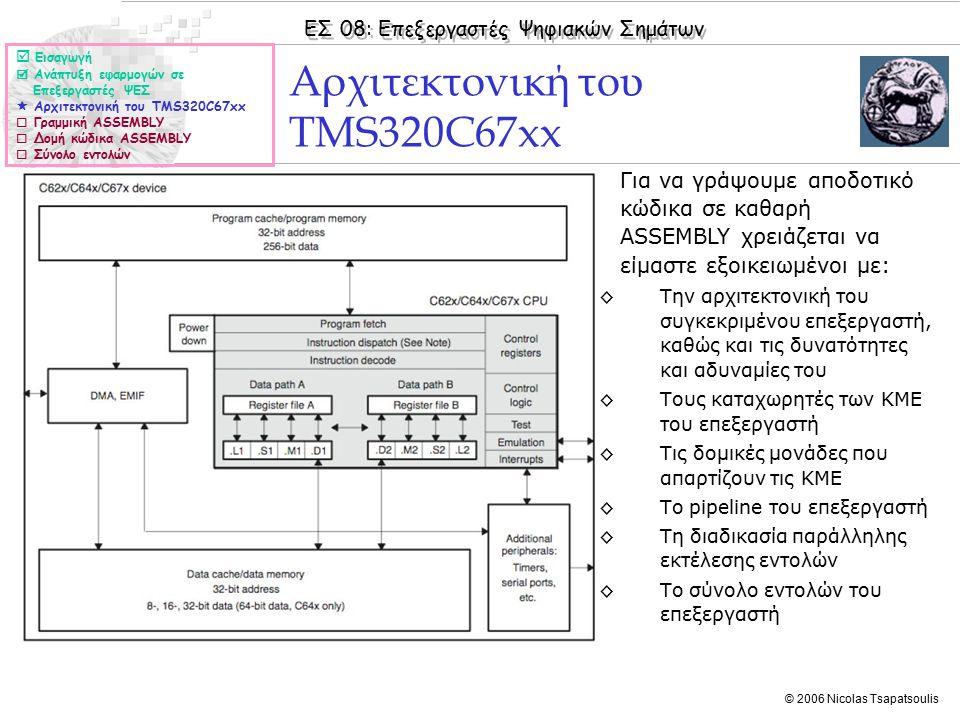 ΕΣ 08: Επεξεργαστές Ψηφιακών Σημάτων © 2006 Nicolas Tsapatsoulis Αρχιτεκτονική του TMS320C67xx (II) ◊Κάθε εντολή απαρτίζεται από 32 bits.