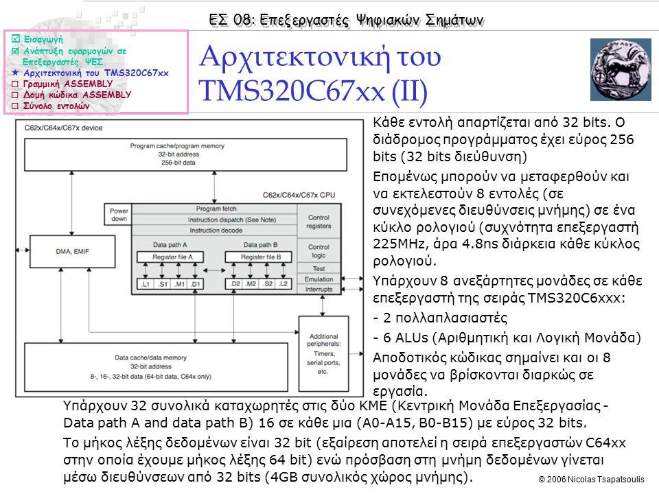 ΕΣ 08: Επεξεργαστές Ψηφιακών Σημάτων © 2006 Nicolas Tsapatsoulis ◊H γραμμική ASSEMBLY μας δίνει τη δυνατότητα: ◊Ενδιάμεσης δυσκολίας προγραμματισμού και αποδοτικότητας όσον αφορά τον χρόνο εκτέλεσης.