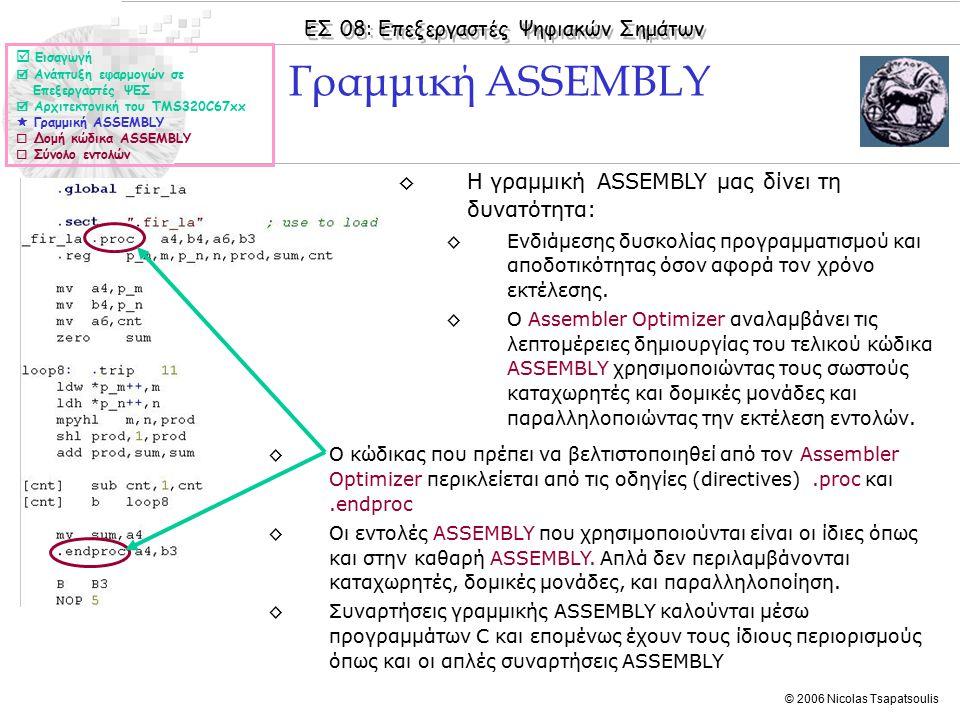 ΕΣ 08: Επεξεργαστές Ψηφιακών Σημάτων © 2006 Nicolas Tsapatsoulis ◊Ένα πρόγραμμα σε κώδικα ASSEMBLY είναι ένα αρχείο κειμένου (ASCII text file) του οποίου κάθε γραμμή μπορεί να περιλαμβάνει έως και 7 στοιχεία: Ετικέτα (Label) Παράλληλες μπάρες (Parallel bars) Συνθήκη (Condition) Εντολή ή οδηγία (Instruction or Directive) Μονάδα εκτέλεσης (Functional unit) Ορίσματα (Operands) Σχόλια (Comments).